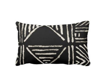 "Mud Cloth Print Throw Pillow or Cover, Black/Off-White 14 x 20"" Lumbar Pillows or Covers, Mudcloth/Boho/Tribal/Geometric/Geo"