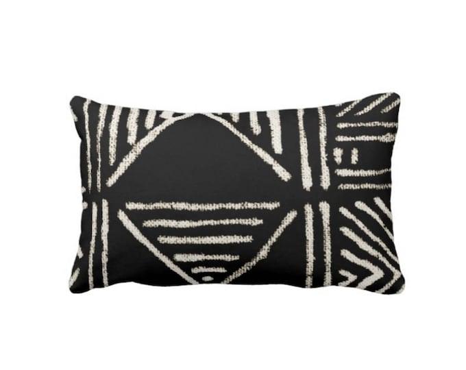 "Mud Cloth Print Throw Pillow or Cover, Black/Off-White 14 x 20"" Lumbar Pillows or Covers, Mudcloth/Boho/Tribal/Geometric/Geo"