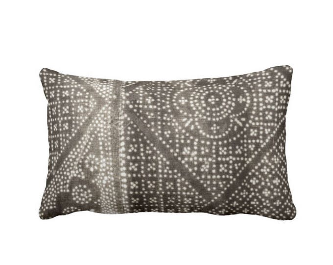 """OUTDOOR Gray Batik Printed Throw Pillow or Cover, 14 x 20"""" Lumbar Pillows or Covers, Vintage Chinese Tribal/Miao/Minority Tribe Print"""