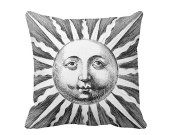 "OUTDOOR Fornasetti Sun Rays Throw Pillow or Cover, Modern Geometric Black/White Print 16, 18 or 20"" Sq Pillows or Covers, Starburst"
