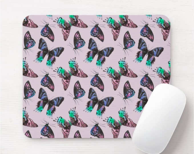 Butterflies Mouse Pad/Mousepad, Lilac/Light Purple Colorful Butterfly Print/Pattern, Flying Insects/Nature/Botanical, Aqua/Teal/Turquoise