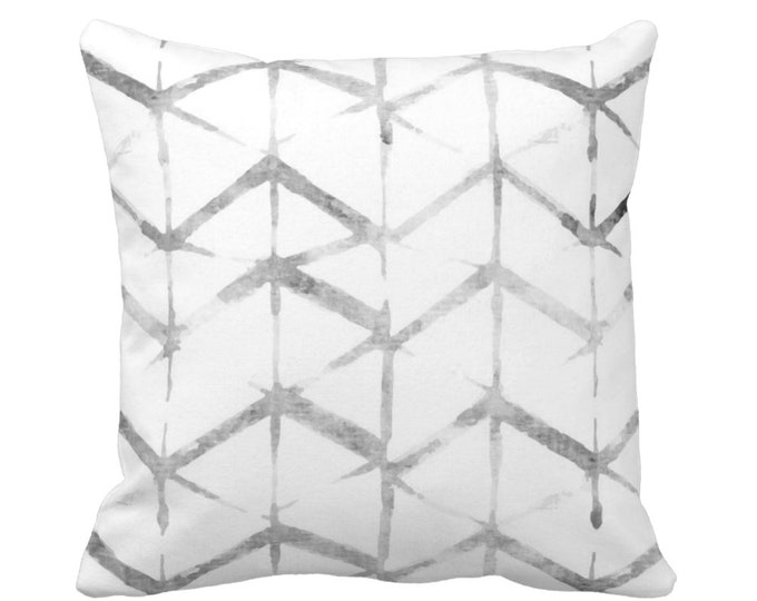 "Shadow Geo Print Throw Pillow or Cover, Gray/White 16, 18, 20 or 26"" Sq Pillows or Covers, Chevron/Stripes/Geometric/Art Print"