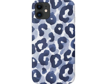 Watercolor Leopard iPhone 12, 11, XS, XR, X, 7/8, 6/6S Pro/Mini/Max/Plus/P Snap Case or TOUGH Protective Cover, Dark Navy Blue Animal Print