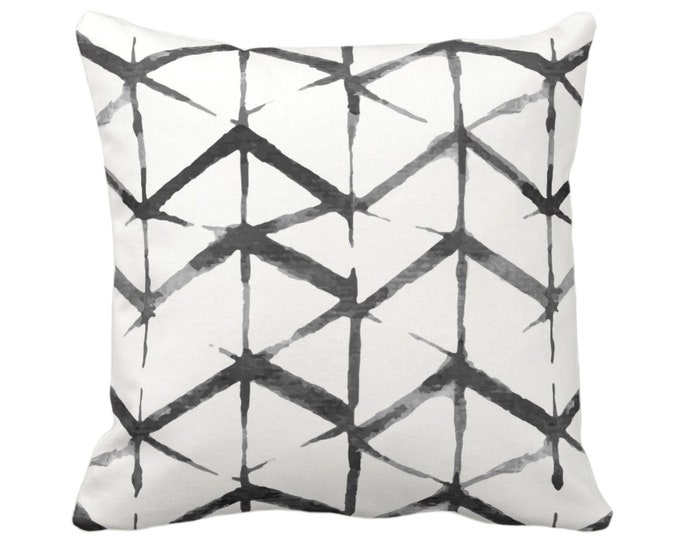 "Shadow Geometric Throw Pillows or Covers, Black, Gray, White 14, 16, 18, 20 or 26"" Sq Pillow or Cover, Watercolor/Hand-Dyed Print, Grey"