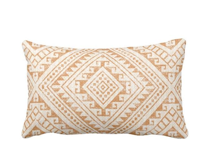 "Diamond Geo Throw Pillow or Cover, Adobe 14 x 20"" Lumbar Pillows or Covers, Earth Orange/Tan Geometric/Batik/Geo/Tribal Print"