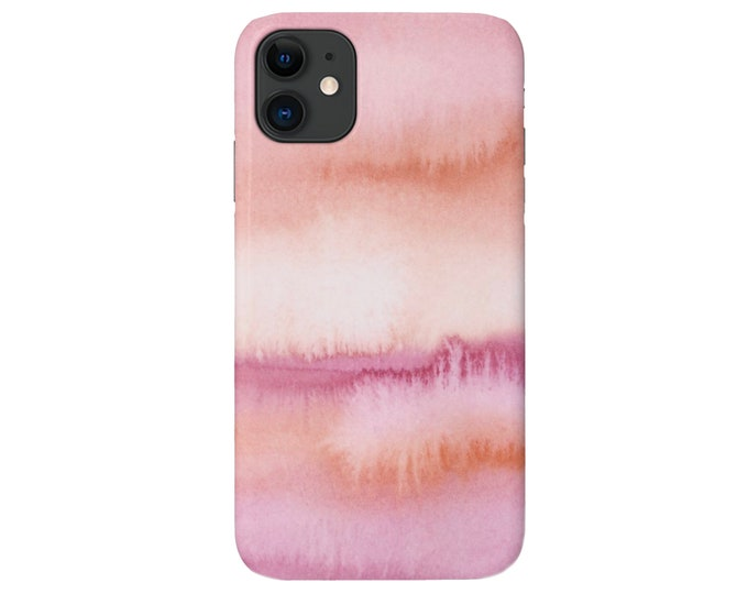 Ombre Sunset Phone 11, XS, XR, X, 7/8, 6/6S P/Pro/Plus/Max Snap Case or TOUGH Protective Cover, Watercolor Pink Painted Abstract, Galaxy