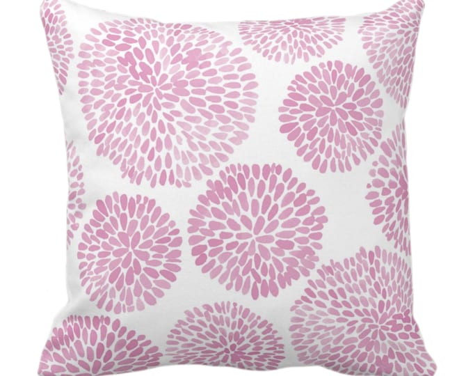 """Watercolor Chrysanthemum Throw Pillow or Cover, Pink Lemonade/White 14, 16, 18, 20, 26"""" Sq Pillows/Covers, Pink Modern/Floral/Flower Print"""