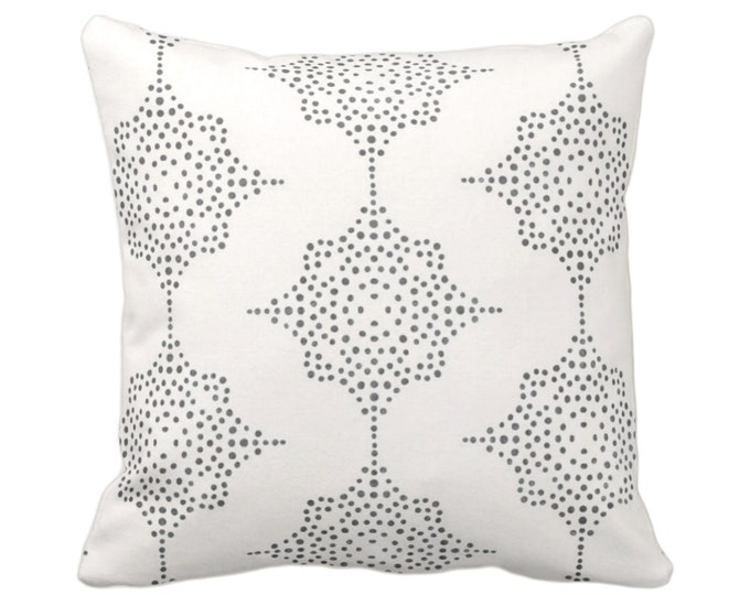"""OUTDOOR Block Print Stars Throw Pillow or Cover, Charcoal Gray & Ivory 16, 18 or 20"""" Sq Pillows or Covers, Blockprint/Boho/Geometric/Star"""