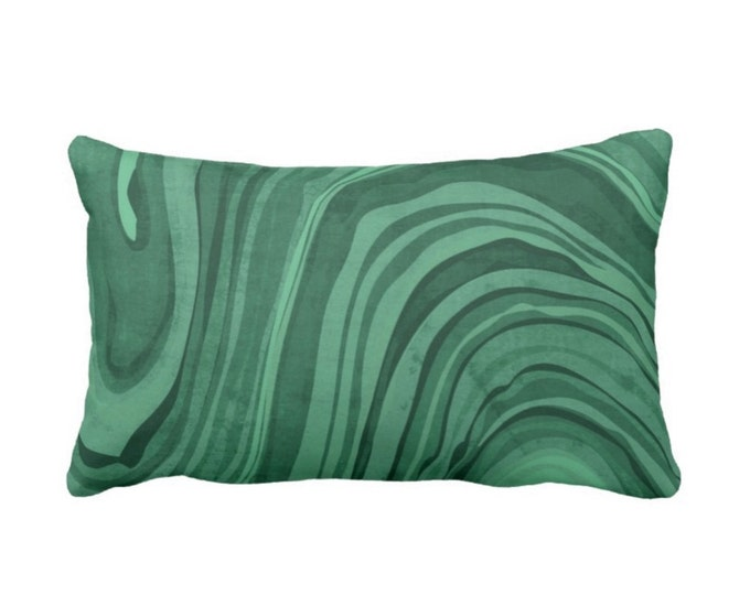 "OUTDOOR - SALE Marbled Print Pillow Cover, Jewel Tone Green Tourmaline 14 x 20"" Lumbar Covers, Emerald Deep Forrest Swirl/Wave/Abstract"