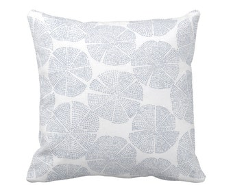 "READY 2 SHIP Block Print Throw Pillow Cover, Geo/Circles Chambray/Off-White 14"" Sq Dusty Blue Blockprint/Batik/Boho/Print"