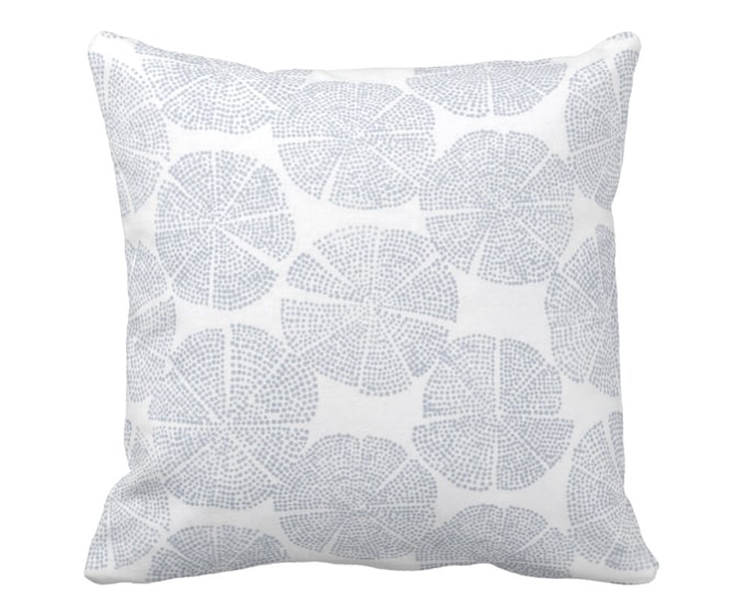 "READY 2 SHIP Block Print Throw Pillow or Cover, Geo/Circles Chambray/Off-White 14"" Sq Pillows/Covers Dusty Blue Blockprint/Batik/Boho/Print"