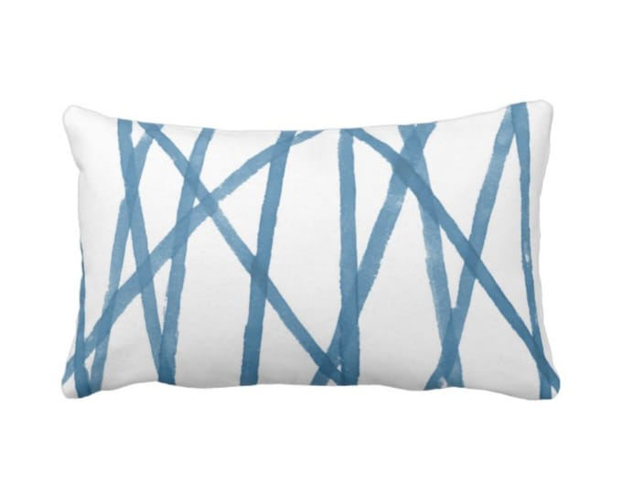 """OUTDOOR Hand-Painted Lines Throw Pillow or Cover, Niagara Blue/White 14 x 20"""" Lumbar Pillows or Covers Channels/Stripes Bright Print"""