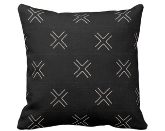 "OUTDOOR Mud Cloth Print Throw Pillow or Cover, Double X Black/Off-White 16, 18 or 20"" Sq Pillows/Covers, Mudcloth/Boho/X/Tribal/Geometric"