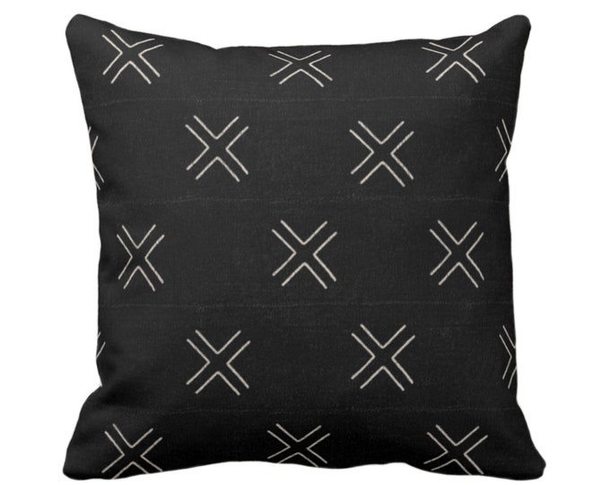 """OUTDOOR - READY 2 SHIP Mud Cloth Print Throw Pillow Cover, Double X Black/Off-White 18"""" Sq Pillows/Covers Mudcloth/Boho/Tribal/Geometric"""