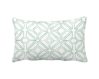 "OUTDOOR Tribal Trellis Throw Pillow or Cover, Balsam/White 14 x 20"" Lumbar Pillows/Covers Green Geo/Geometric/Diamond/Triangle Print/Pattern"