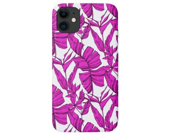 Bird of Paradise Phone 11, XS, XR, X, 7/8, 6/6S P/Plus/Max, Slim or Tough Protective Cover, Bright Pink Modern Tropical/Floral/Palm Print