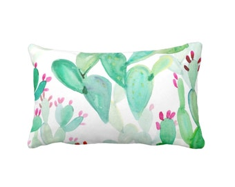 """Watercolor Cactus Print Throw Pillow or Cover, Colorful Green, Pink 14 x 20"""" Lumbar Pillows or Covers, Southwest/Cacti Pattern"""