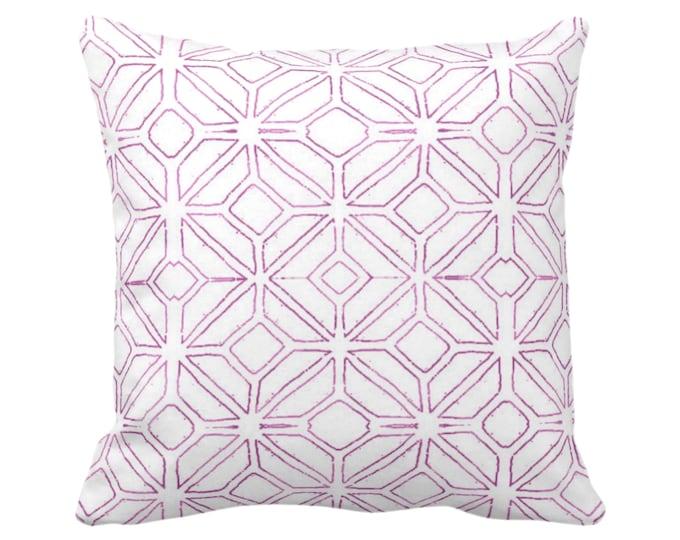 "Tribal Trellis Throw Pillow or Cover, Purple  & White 14, 16, 18, 20, 26"" Sq Pillows or Covers, Geo/Geometric/Diamond/Triangle Print/Pattern"