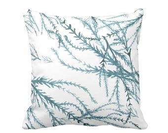"""Watercolor Branches Throw Pillow or Cover, Sea Glass/White Print 16, 18, 20 or 26"""" Pillows or Covers, Blue/Green Nature Pattern"""