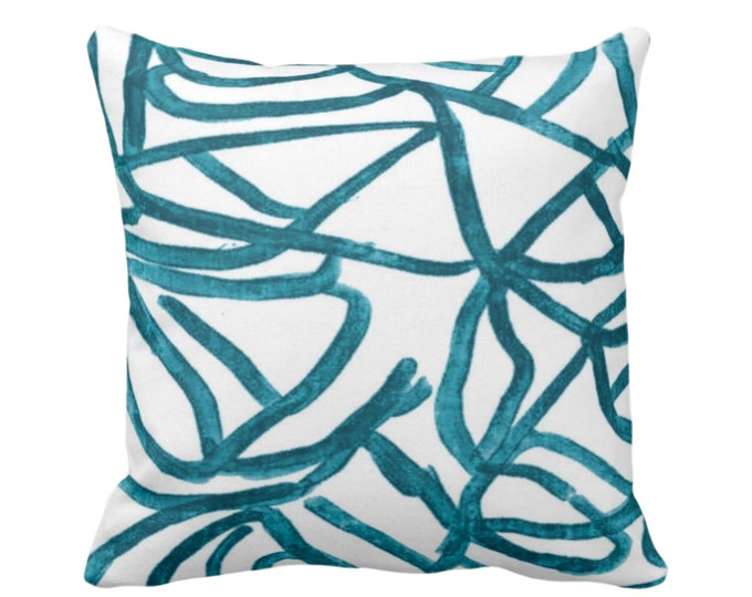 "OUTDOOR Abstract Throw Pillow or Cover, White/Teal 14, 16, 18, 20 or 26"" Sq Pillows/Covers, Blue/Green Painted Modern/Lines/Geometric Print"