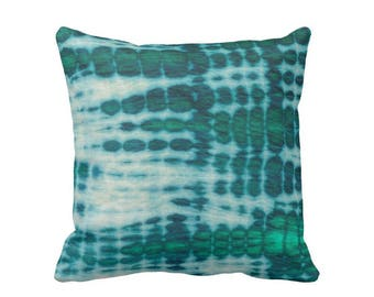 """READY 2 SHIP Acid Teal & Emerald Throw Pillow Cover 20"""" Sq Covers, Hand-Dyed Effect, Shibori/Mud Cloth/Tie Dye, Light/Bright Blue/Green"""