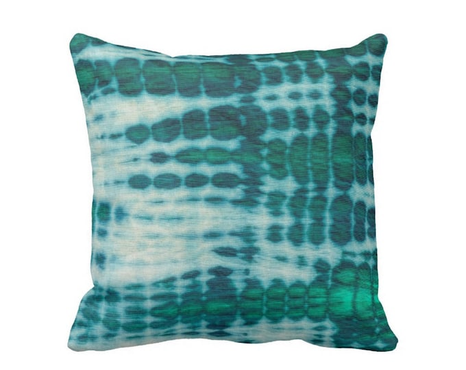 "READY 2 SHIP Acid Teal & Emerald Throw Pillow Cover 20"" Sq Covers, Hand-Dyed Effect, Shibori/Mud Cloth/Tie Dye, Light/Bright Blue/Green"
