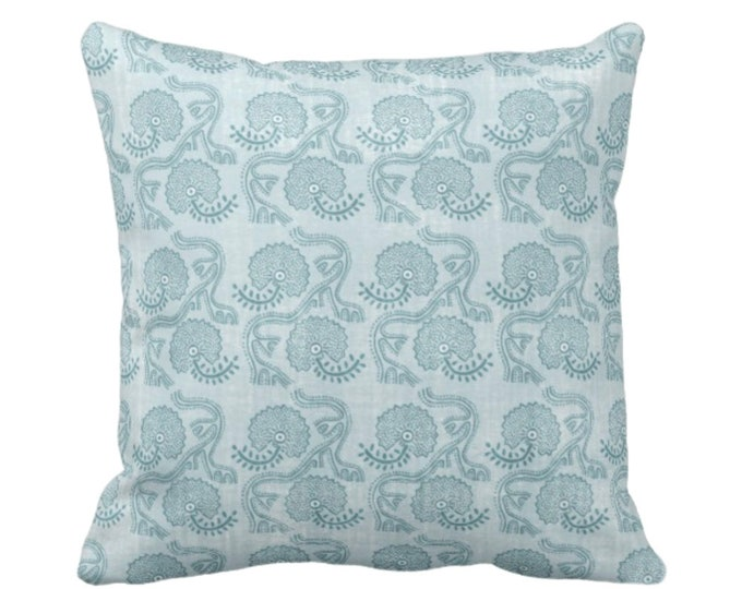 "Block Print Floral Throw Pillow or Cover, Dusty Turquoise 16, 18, 20 or 26"" Sq Pillows or Covers, Blue/Green Flower/Batik/Geo/Boho Pattern"