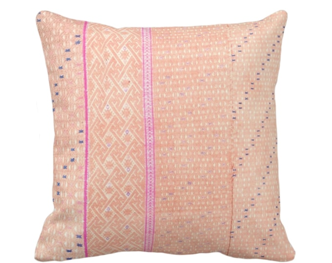 "OUTDOOR Chinese Wedding Blanket Printed Throw Pillow/Cover, Peach 16, 18, 20"" Sq Pillows/Covers, Thai Embroidered, Pink"