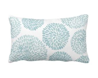 "Watercolor Chrysanthemum Throw Pillow or Cover, Aqua/White 14 x 20"" Lumbar Pillows/Covers, Blue/Green Abstract/Modern/Floral/Flower Print"