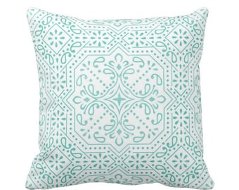 "OUTDOOR Tile Print Throw Pillow or Cover, Teal 16, 18 or 20"" Sq Pillows or Covers, Bright Blue/Green Geometric/Batik/Trellis/Boho"