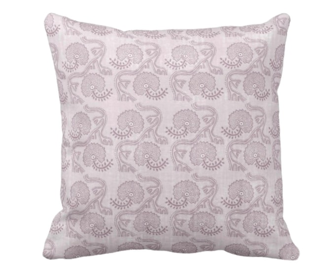 "OUTDOOR Block Print Floral Throw Pillow or Cover, Lavender 16, 18 or 20"" Sq Pillows or Covers, Dusty Purple Flower/Batik/Geo/Boho/Blockprint"
