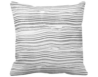 "Abstract Lines Print Throw Pillow or Cover 14, 16, 18, 20 or 26"" Sq Pillows/Covers, Black/Charcoal/White Painted Geometric/Stripes/Lines"