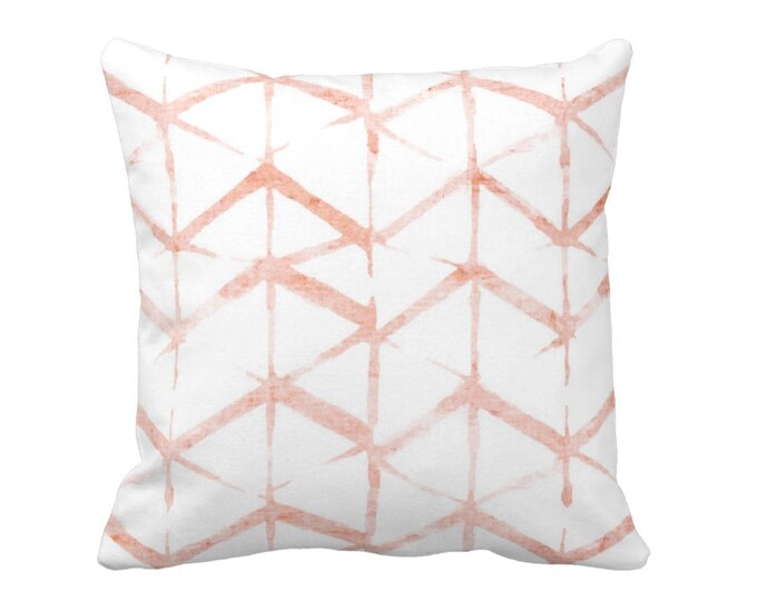 """OUTDOOR Shadow Geo Print Throw Pillow or Cover, Pink Sand & White 16, 18 or 20"""" Sq Pillows or Covers, Watercolor, Dusty/Blush/Peach"""