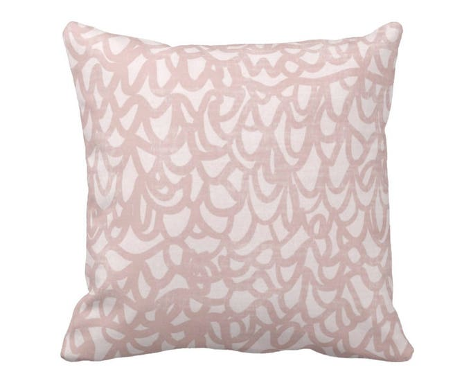 """OUTDOOR Scribble Lace Throw Pillow or Cover, Dusty Blush 16, 18 or 20"""" Sq Pillows or Covers, Light Pink Modern/Abstract Print/Pattern"""