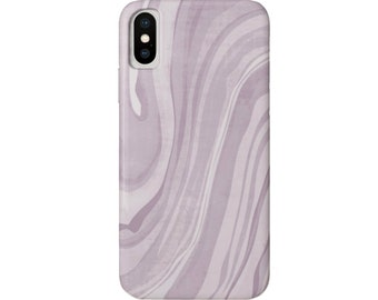 Marbled iPhone XS, XR, X, 7/8, 6/6S, P/Plus/Max Snap Case or TOUGH Protective Cover, Iced Lavender Marble/Abstract/Modern Print Dusty Purple