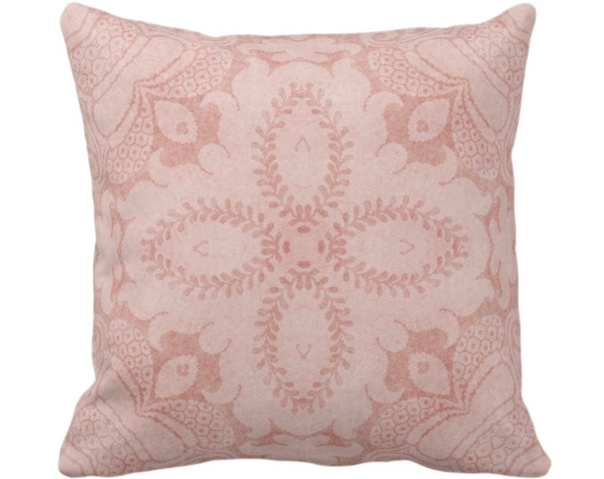 """OUTDOOR Nouveau Damask Throw Pillow/Cover, Pink Clay 16, 18, 20 or 26"""" Sq Pillows/Covers, Dusty Adobe/Blush Floral/Batik/Boho/Tribal Pattern"""