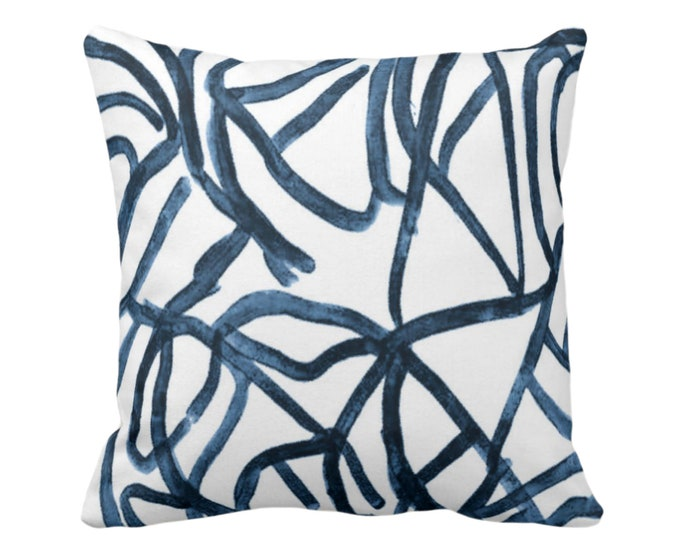"OUTDOOR Abstract Throw Pillow or Cover, White/Slate Blue 16, 18, 20"" Sq Pillows Covers, Navy Painted Modern/Lines/Geometric Painting Print"