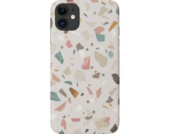 Terrazzo iPhone 12, 11, XS, XR, X, 7/8, 6/6S Pro/Max/Plus/P Snap Case or Tough Protective Cover Taupe/Pink Abstract Geometric Print, Galaxy