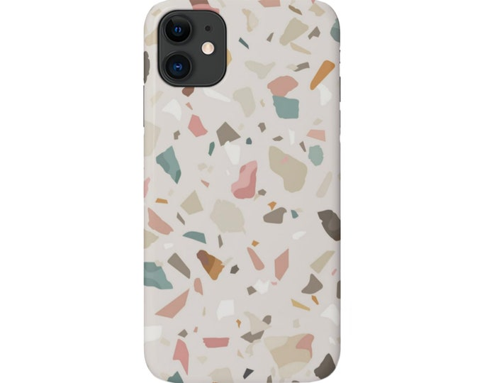 Terrazzo iPhone 11, XS, XR, X, 7/8, 6/6S Pro/Max/Plus/P Snap Case or Tough Protective Cover Taupe/Pink Abstract Geometric Print, Galaxy lg