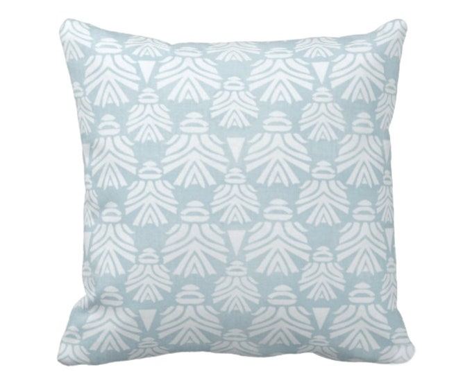 "Block Print African Mask Throw Pillow or Cover, Sky 16, 18, 20, 26"" Sq Pillows or Covers, Light Aqua Blue/Green Tribal Blockprint/Boho Print"