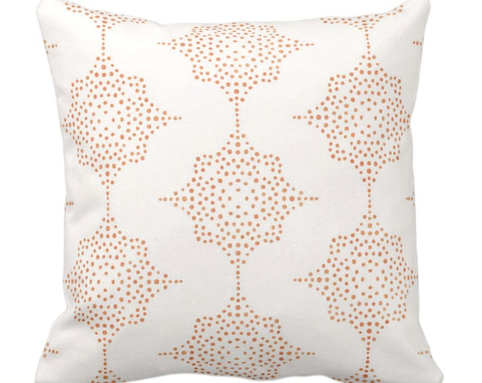 "Block Print Stars Throw Pillow or Cover, Coral & Ivory 14, 16, 18, 20, 26"" Sq Pillows/Covers, Earthy Orange Blockprint/Boho/Geometric Print"