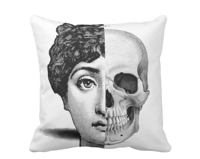 "OUTDOOR Fornasetti Face & Skull Throw Pillow or Cover, Black/White Print 16, 18 or 20"" Sq Pillows or Covers, Modern/Half/1/2/Skulls"