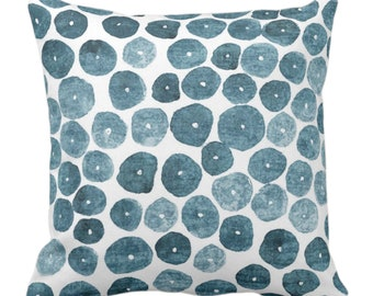 "Free Form Watercolor Throw Pillow or Cover, Lead Gray 14, 16, 18, 20, 26"" Sq Pillows/Covers, Dusty Teal Modern/Abstract/Minimalist Print"
