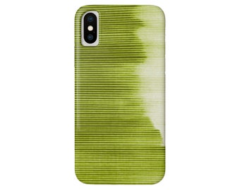 Ombre Stripe Green iPhone XS, XR, X, 7/8, 7P, 8P or 6/6S, 6P Plus/Max Snap Case or TOUGH Protective Cover, Bright Olive/Lime Striped/Stripes