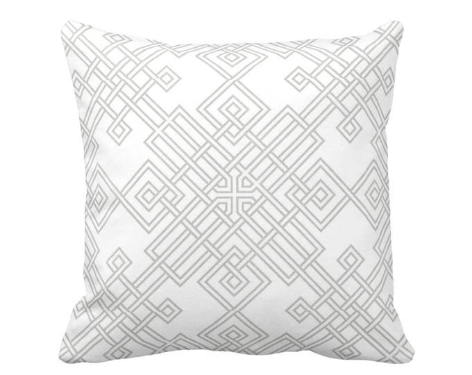 "OUTDOOR Interlocking Geo Throw Pillow or Cover, Gray/White 16, 18 or 20"" Sq Pillows or Covers, Modern/Geometric/Trellis/Lattice Print"
