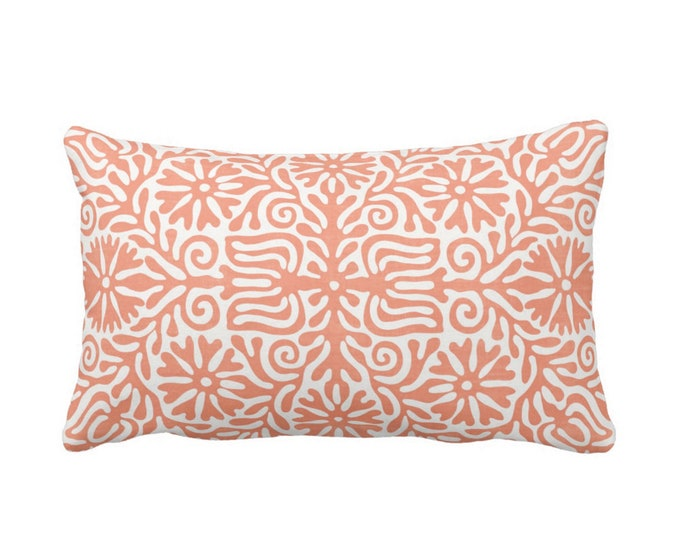 "OUTDOOR Folk Floral Throw Pillow or Cover, Coral 14 x 20"" Lumbar Pillows/Covers, Melon/Orange/White, Flowers/Boho/Bohemian/Tribal/Geo"