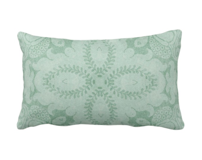 "Nouveau Damask Throw Pillow or Cover, Celadon Green 14 x 20"" Lumbar/Oblong Pillows/Covers Dusty Mint, Floral/Batik/Geo/Boho/Tribal Pattern"