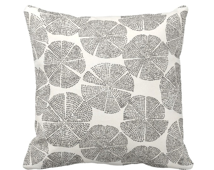 """Blockprint Floral Throw Pillow or Cover, Charcoal/Off-White 16, 18, 20, 26"""" Sq Pillows or Covers, Block/Batik/Boho/Print/Pattern"""