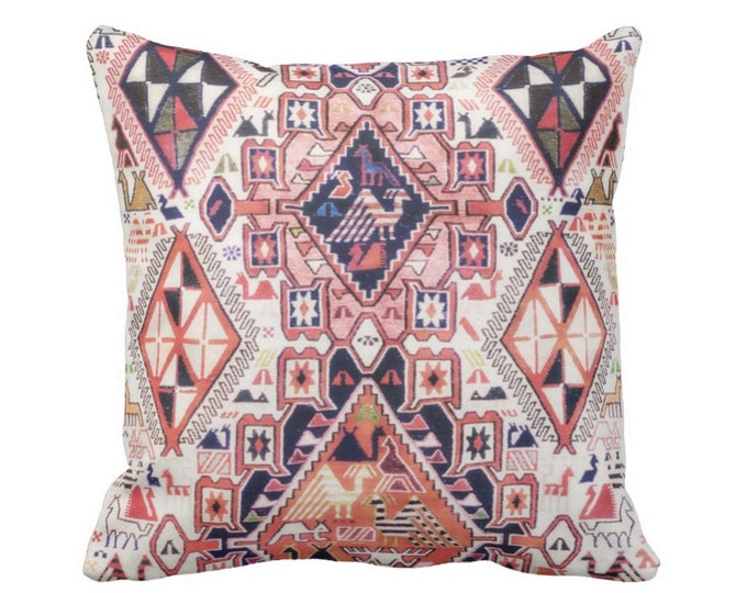 "OUTDOOR Tribal Geo Print w/ Birds Pillows or Covers Sq 16, 18 or 20"" Throw Cover/Pillow Pink, Orange, Red Geometric/Boho/Native"