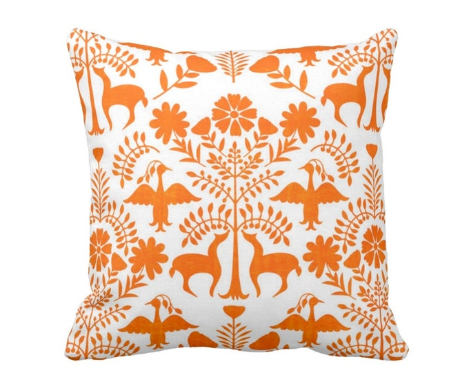 "Otomi Throw Pillow or Cover, White/Orange 16, 18, 20, 26"" Sq Pillows or Covers, Bright Mexican/Boho/Floral/Animals/Nature Print"